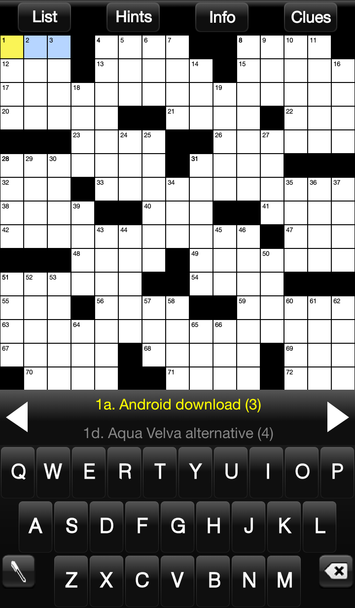 Screenshot Crossword